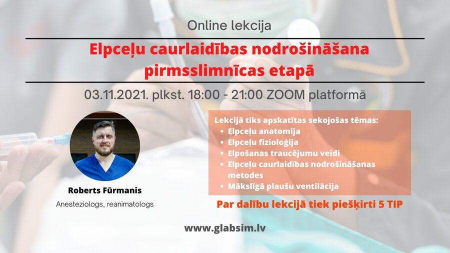"""Online lekcija """"Elpceļu caurlaidības nodrošināšana pirmsslimnīcas etapā 03.11.2021."""""""